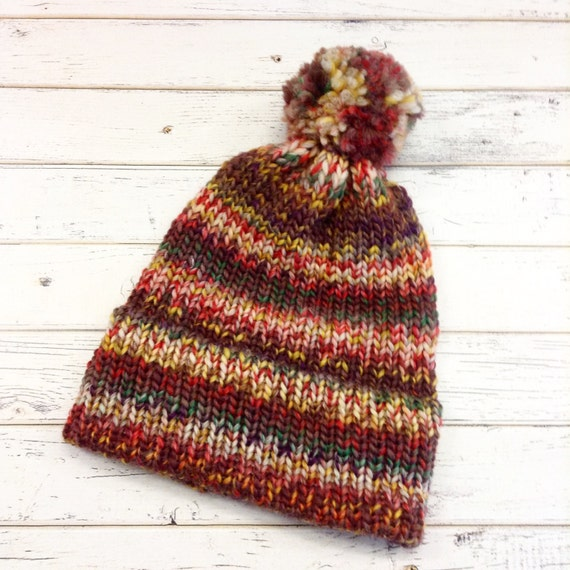 Double Thick Brim Knit Hat With Pom Pom - Womens Beanie in Bramble - Womens Accessories Multicolor Wool Winter Hat - READY TO SHIP