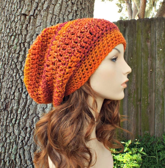 Orange Womens Hat Slouchy Beanie Weekender Slouchy Hat Wildfire Orange Hat - Chunky Orange Beanie Womens Accessories - READY TO SHIP