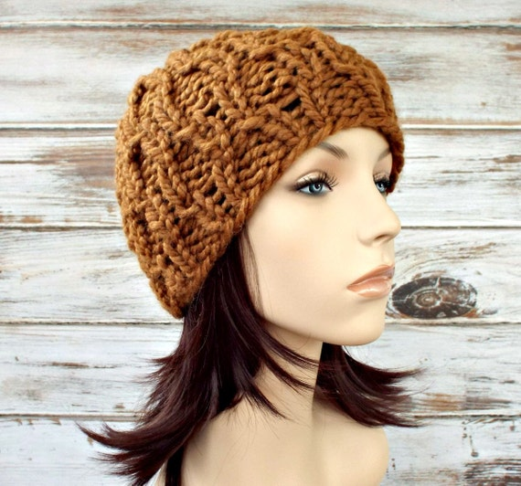 Knit Hat Brown Womens Hat - Amsterdam Cable Beanie in Hazelnut Brown Knit Hat - Brown Hat Brown Beanie Womens Accessories Winter Hat