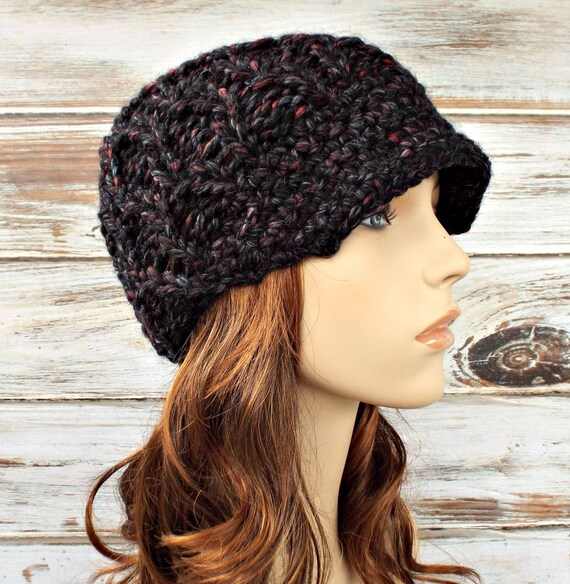 Knit Hat Womens Hat Newsboy Hat - Amsterdam Cable Beanie with Visor Black Grey Maroon Blackstone Newsboy Hat Knit Hat - Womens Accessories