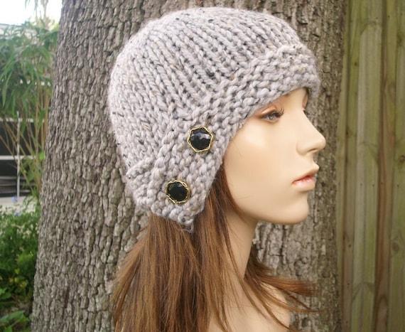 Grey Womens Hat - Grey Cloche Hat Tweed Grey Knit Hat - Grey Hat Grey Beanie Womens Accessories Winter Hat