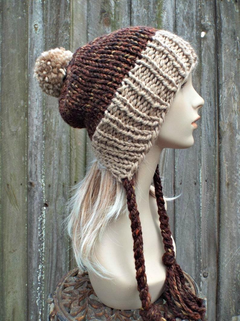 9adec7a1bdf Chunky Knit Hat Womens Brown Pom Pom Hat Slouchy Ear Flap