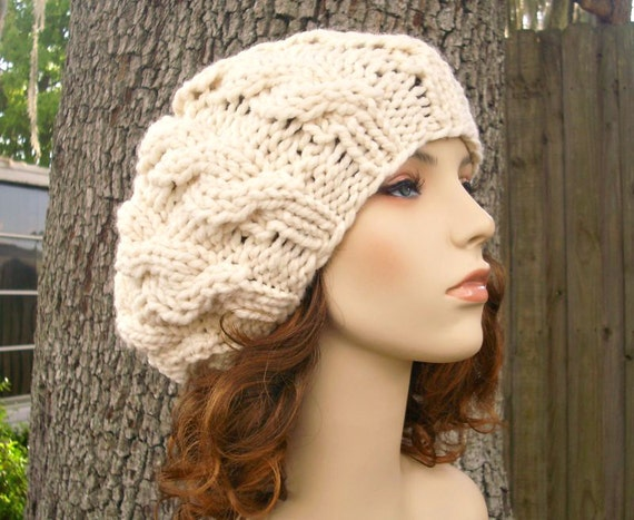 Cream Cable Beret Chunky Knit Hat Cream Womens Hat Cream Hat  a06233a39