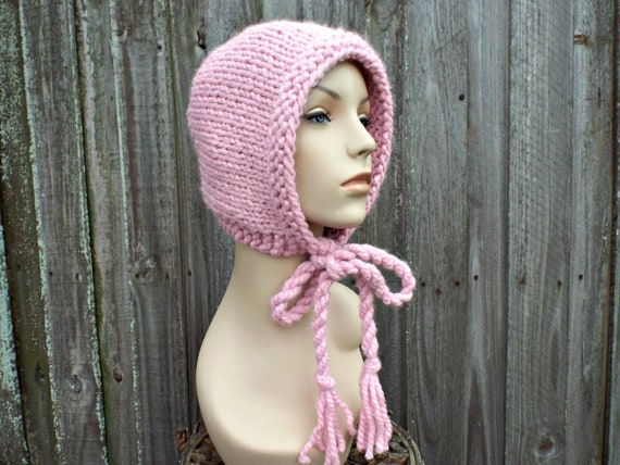 Blossom Pink Knit Hat - Pink Aviator Hat Pink Adult Bonnet - Pink Knit Hood Twisted Ties - Pink Womens Hat Pink Winter Hat