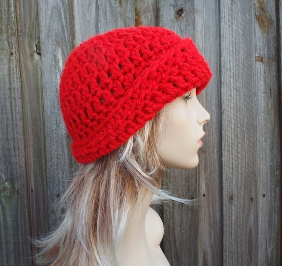Red Crochet Hat Red Womens Hat 1920s Flapper Hat - Garbo Cloche Hat Red Hat Red Beanie Red Cloche Womens Accessories Winter Hat Acrylic Yarn