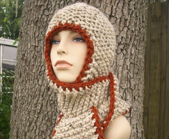 Chunky Knit Hat Womens Hat - Garter Nomad Scarf Hat in Oatmeal and Rust Knit Hat Oatmeal Scarf Womens Accessories Winter Hat