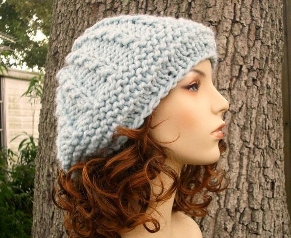 Blue Womens Hat - Big Rasta Thumb Cable Beret Hat Glacier Blue Knit Hat - Blue Hat Blue Beret Blue Beanie Womens Accessories Winter Hat