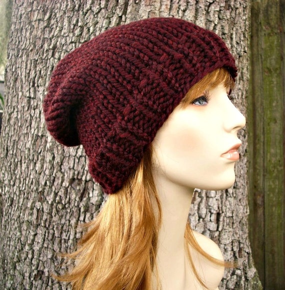 Burgundy Red Knit Hat Red Womens Hat Slouchy Beanie Mens Hat Slouchy Hat - Toque Beanie - Red Hat Red Beanie Womens Accessories Winter Hat