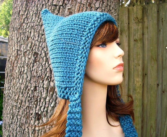Knit Hat Womens Hat - Blue Pixie Hat in Teal Blue Knit Hat - Blue Hat Womens Accessories Winter Hat