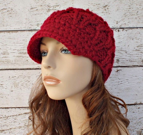 Knit Hat Womens Hat Red Newsboy Hat - Amsterdam Cable Beanie with Visor Poinsettia Red Hat Red Beanie - Womens Accessories