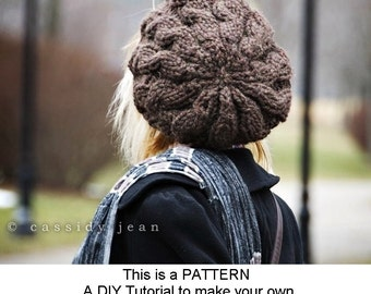 Instant Download Knitting Pattern - Cable Beret Pattern - Knit Hat Knitting Pattern - Womens Hat Pattern - Womens Accessories