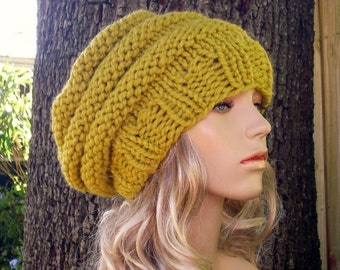 Knit Hat Womens Hat Slouchy Beanie - Oversized Beehive Beret Hat in Citron Yellow Knit Hat - Yellow Hat Yellow Beret Womens Accessories