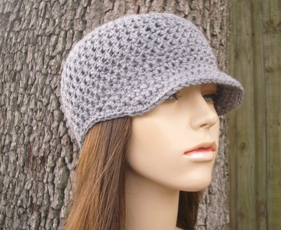 Crochet Hat Grey Womens Hat Grey Newsboy Hat - Skater Boy Cap in Heather Grey Crochet Hat - Grey Hat Grey Beanie Womens Accessories