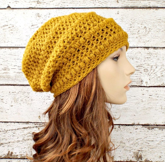 Crochet Hat Womens Hat - Penelope Puff Stitch Slouchy Beanie Hat in Mustard Yellow Crochet Hat - Yellow Beanie Womens Accessories Winter Hat