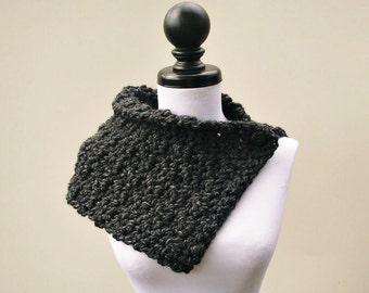 Crocheted Cowl Scarf - Lucienne Cowl Charcoal Grey - Grey Cowl Grey Scarf Grey Womens Scarf Grey Womens Cowl - Womens Accessories