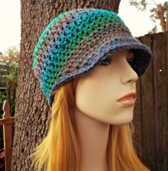 Crochet Hat Blue Womens Hat Blue Newsboy Hat Blue Hat - Skater Boy Cap in Tropical Metallic Blue Green Pink - Womens Accessories
