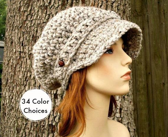 Crochet Hat Womens Hat Grey Hat Grey Newsboy Hat - Crochet Newsboy Hat in Grey Marble Tweed Crochet Hat - Grey Beanie