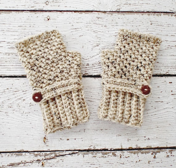 Crocheted Fingerless Gloves Mittens - Oatmeal Fingerless Gloves - Oatmeal Gloves Oatmeal Mittens Womens Accessories