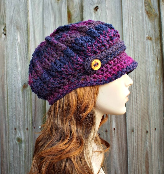 Purple Newsboy Hat Purple Womens Hat - Spring Monarch Newsboy Hat Grape Jelly Purple Crochet Hat - Purple Hat Womens Accessories