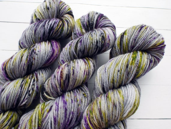 Hand Dyed Yarn 100% Superwash Merino Yarn Worsted Weight Yarn - 220 Yards - Tonal Speckled Yarn Grey Yarn Purple Yarn Yellow Yarn Black Yarn