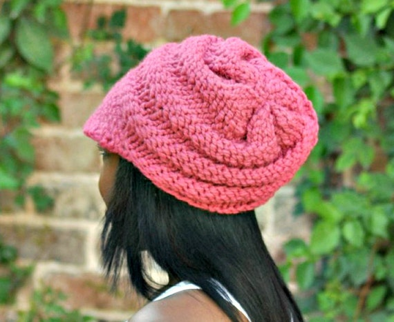 babb1500a570c3 ... Knit Hat Pink Womens Hat Pink Newsboy Hat - Swirl Beanie with Visor in  Raspberry Pink