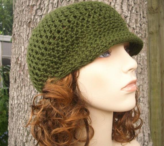 Green Womens Hat Green Newsboy Hat - Skater Boy Cap Olive Green Crochet Hat - Green Hat Green Beanie Womens Accessories Winter Hat