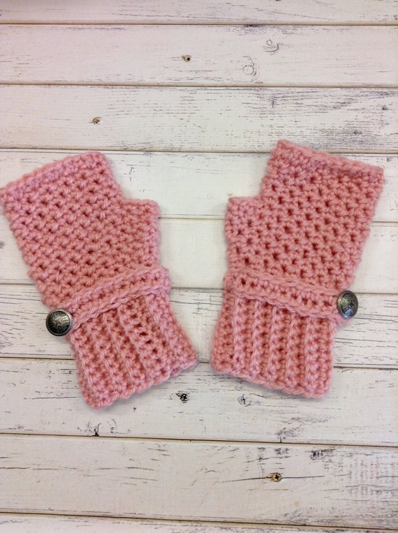 Crocheted Fingerless Gloves Mittens - Fingerless Gloves in Pink - Pink Gloves Pink Mittens Womens Accessories