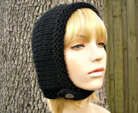 Hand Knit Hat Womens Hat - Pixie In Training Aviator Hat in Black Knit Hat - Black Hat Black Hood Black Beanie Winter Hat