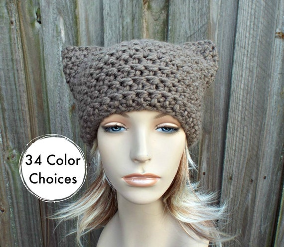 Brown Cat Hat - Thermal Crochet Womens Winter Beanie Taupe Hat Brown Hat - Taupe Pussyhat Taupe Pussy Hat Brown Pussyhat