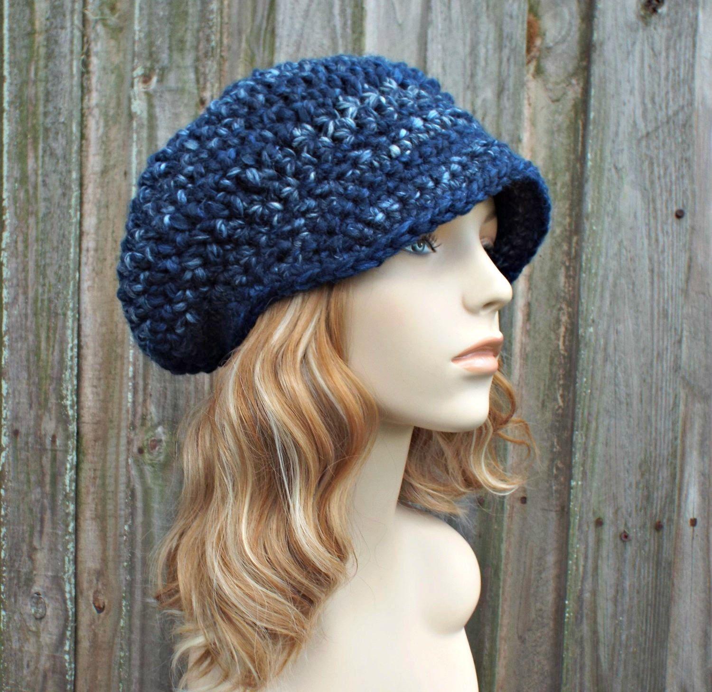 River Run Blue Crochet Womens Newsboy Hat Slouchy Newsboy Hat Blue Hat Blue  Beanie Blue Crochet Hat Blue Newsboy Hat fa2360653c