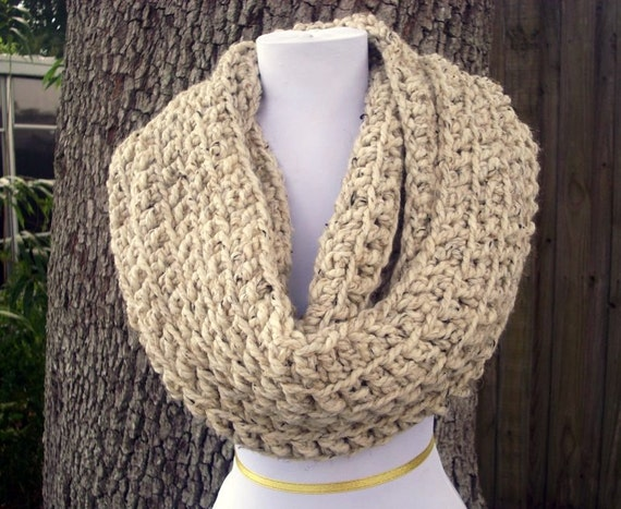 The Vermonter - Oatmeal Oversized Chunky Infinity Cowl Circle Scarf Infinity Scarf - Oatmeal Cowl Oatmeal Scarf Womens Accessories