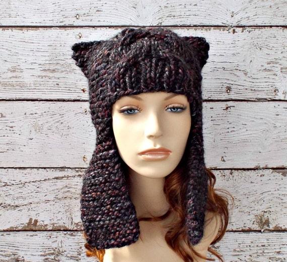 e11eb397ae7 ... Grey Womens Hat - Dragon Slayer Grey Ear Flap Hat Blackstone Black  Maroon Charcoal Grey Knit