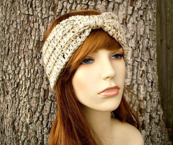 Womens Oatmeal Earwarmer - Oatmeal Turban Headband - Oatmeal Headband Womens Hair Accessories - Womens Accessories