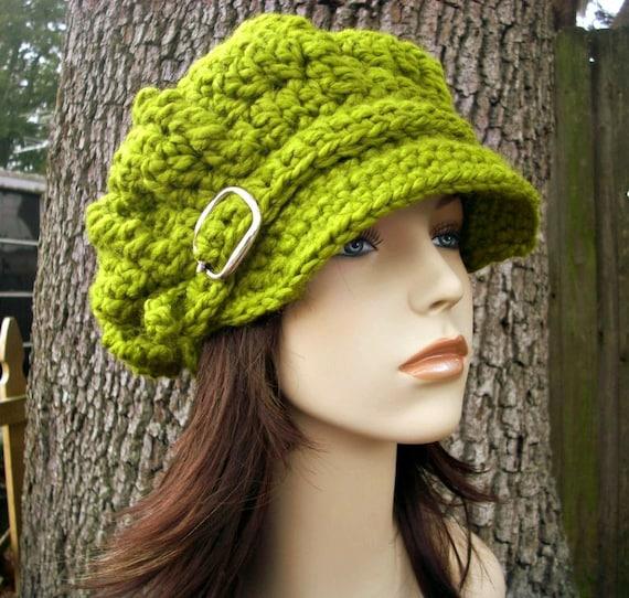 Crochet Hat Womens Hat Green Newsboy Hat - Oversized Monarch Ribbed Crochet Newsboy Hat in Lemongrass Green Hat - Womens Accessories