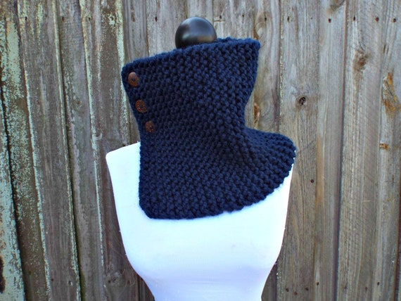 Hand Knit Turtle Neck Cowl - Navy Cowl - Navy Blue Cowl - Tall Cowl with Buttons - Knit Cowl Winter Cowl - Gift For Him Gift For Her