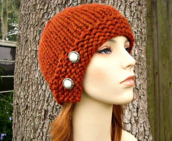 Knit Hat Womens Hat - Cloche Hat in Rust Orange Knit Hat - Rust Hat Orange Hat Rust Beanie Orange Beanie Womens Accessories Winter Hat