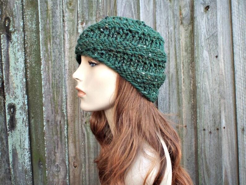 7d103f638a39c0 Chunky Knit Hat Womens Kale Green Hat Swirl Beanie Green | Etsy