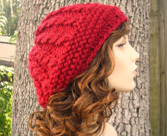 Red Womens Hat - Big Rasta Thumb Cable Beret Hat Cranberry Red Knit Hat - Red Hat Red Beanie Red Beret Chunky Knit Hat Womens Accessories