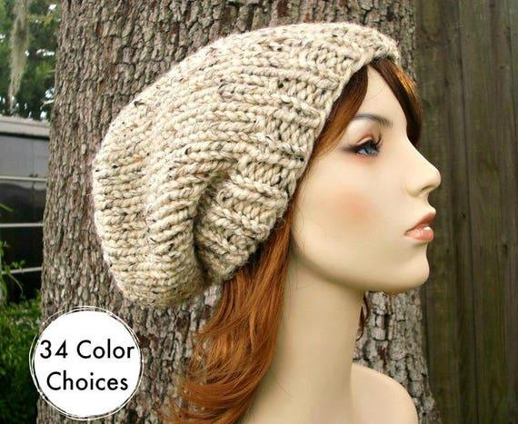Knit Hat Womens Hat Slouchy Beanie Mens Hat Slouchy Hat - Toque Beanie Oatmeal Hat - Oatmeal Beanie Warm Winter Hat