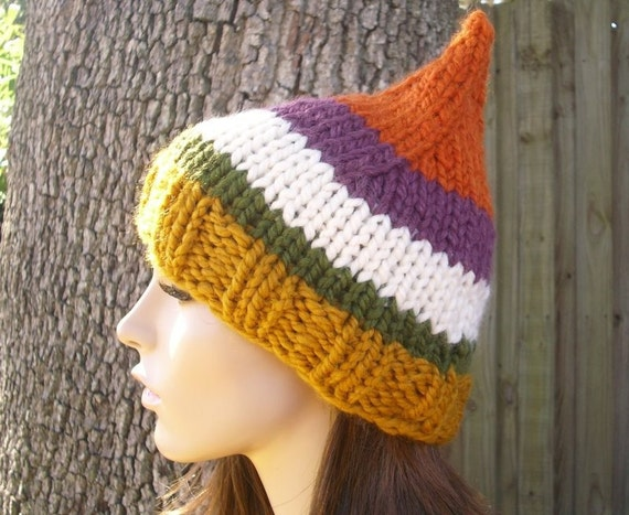 Knit Hat Womens Hat - Gnome Hat in Autumnal Symphony Green Yellow Purple Orange Knit Hat - Womens Accessories Winter Hat