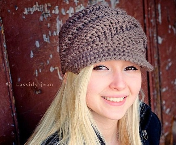 Taupe Chunky Knit Hat Womens - Swirl Beanie with Visor in Taupe Newsboy Hat - Taupe Hat Taupe Beanie Knit Accessories