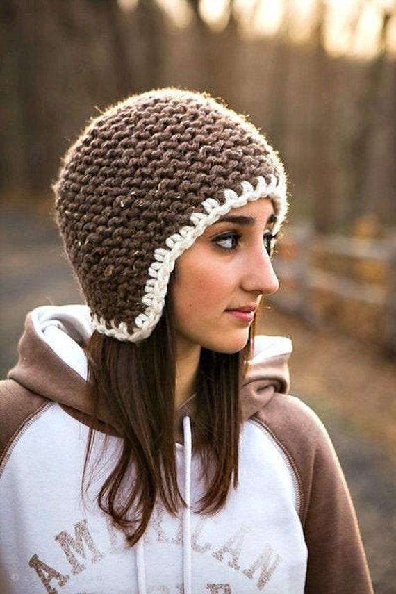 Winter Hat Womens Hat Ear Flap Hat Knit Beanie Navy Blue Mens Hat Chunky Knit Hat Garter Helmet Knit Cap