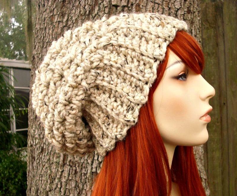 233b38b78c7b97 Oatmeal Womens Hat Chunky Slouchy Beanie Slouchy Hat - Souffle Beret  Oatmeal Crochet Hat - Oatmeal Hat Oatmeal Beanie - READY TO SHIP