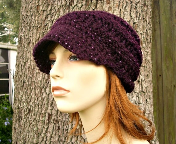 Purple Womens Hat Purple Newsboy Hat - Swirl Beanie with Visor Galaxy Eggplant Purple Knit Hat - Purple Hat Purple Beanie Womens Accessories