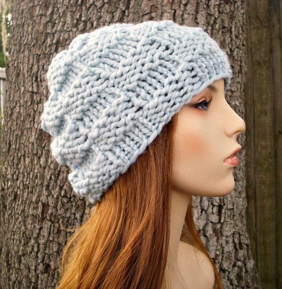 Blue Chunky Knit Hat Womens Hat - Basket Weave Beanie in Glacier Blue Knit Hat - Blue Hat Blue Beanie Womens Accessories Winter Hat