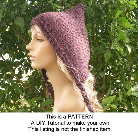 Instant Download Knitting Pattern - Knit Hat Knitting Pattern - Knit Hat Pattern for Spring Pixie Hat - Womens Accessories