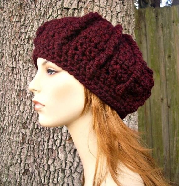 Crochet Hat Womens Hat - Monarch Ribbed Beret in Oxblood Wine Red Crochet Hat - Red Hat Red Beret Red Beanie Merlot Hat Womens Accessories