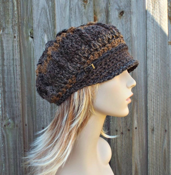 Womens Crochet Hat Women Newsboy Hat - Spring Monarch Ribbed Hat - Grey and Brown Newsboy Hat - Tundra - 10 Color Choices