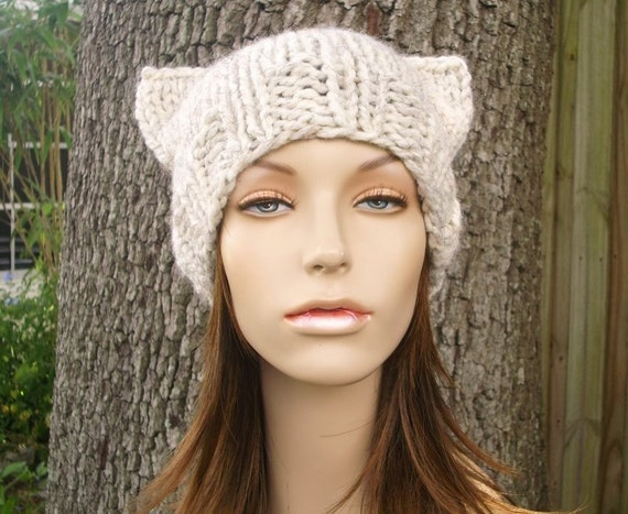 Knit Hat Womens Hat - Cat Beanie Hat in Wheat Knit Hat - Wheat Cat Hat Wheat Hat Wheat Beanie Womens Accessories Winter Hat