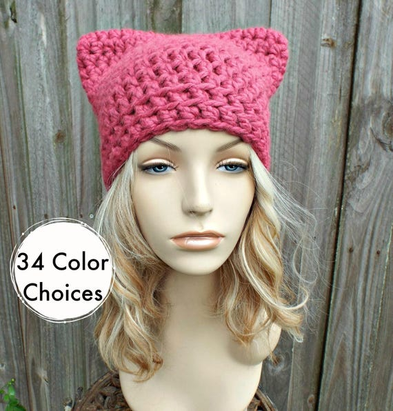 Pink Cat Hat - Crochet Womens Winter Beanie in Raspberry - Pink Pussyhat Pink Pussy Hat - 34 Color choices